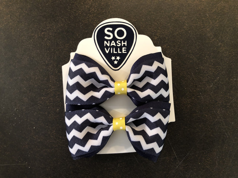 Game Day Bow Set Navy/White - So Nashville Clothing