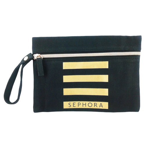 Sephora Black Makeup Bag with Golden Stripes