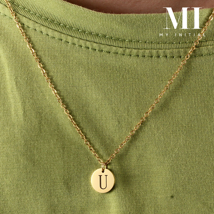 18k Gold Initial Necklace Pendant personalised jewellery gift MI