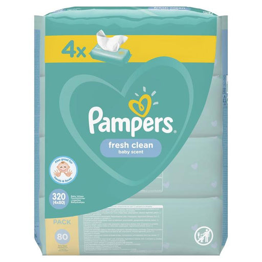 Pampers Fresh Clean Baby Wipes 4 x 80 XXL Pack