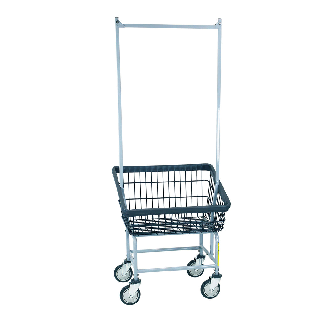 DURA-SEVEN™ FRONT LOAD WIRE LAUNDRY CART W/ DOUBLE POLE RACK-Norton Supply