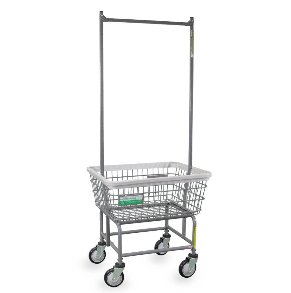 antimicrobial laundry cart w   double pole rack