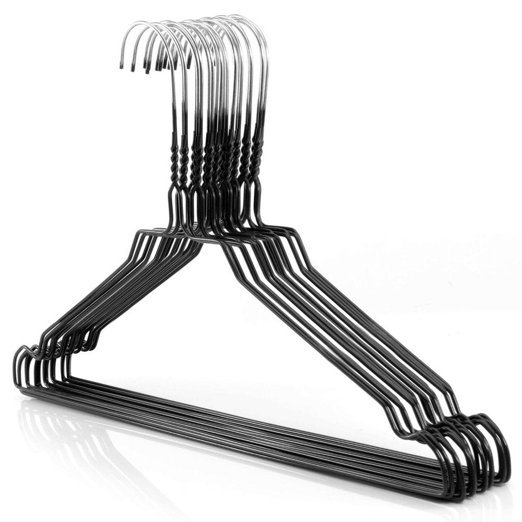 "Galvanized 13-16"" Black Shirt Hangers,450/cs-Norton Supply"