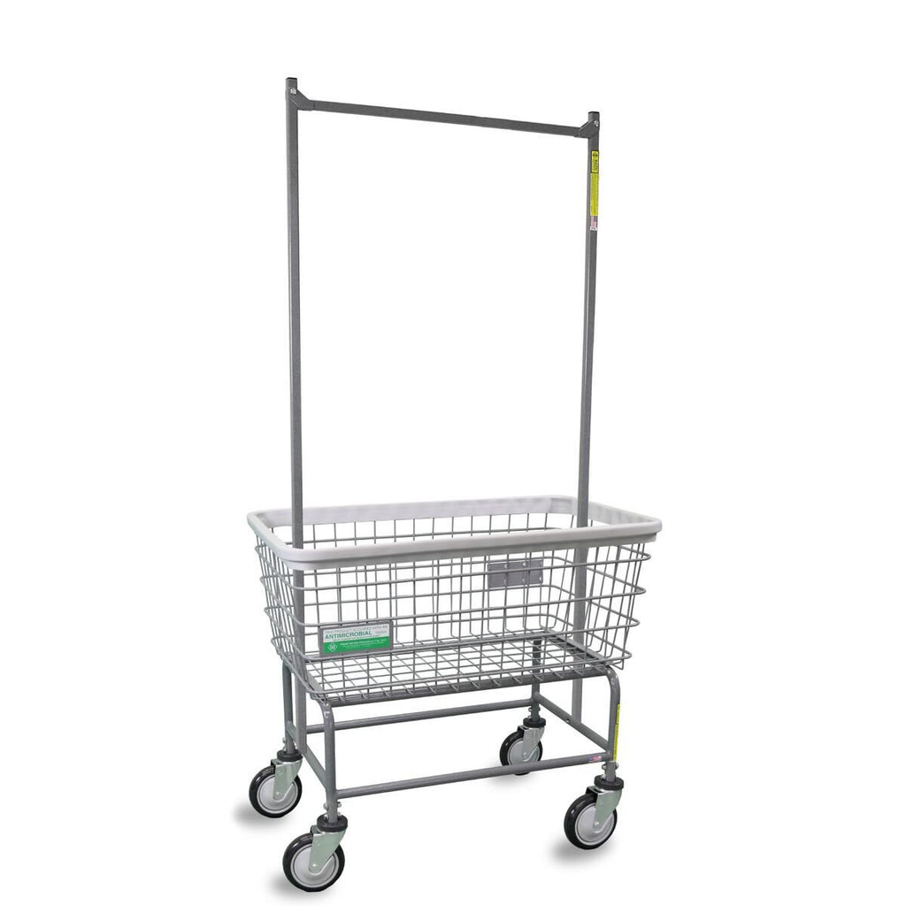Antimicrobial Large Capacity Laundry Cart w/ Double Pole Rack-Norton Supply