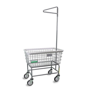 Antimicrobial Large Capacity Laundry Cart w/ Single Pole Rack-Norton Supply