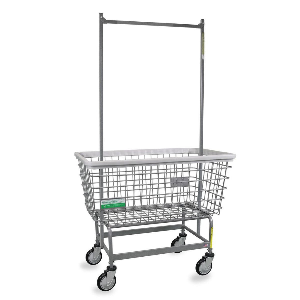 Antimicrobial Mega Capacity Laundry Cart (Big Dog) w/ Double Pole Rack-Norton Supply