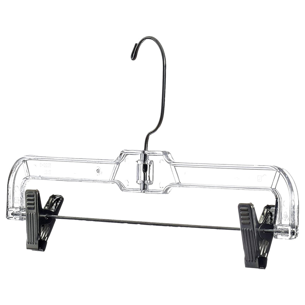 "14"" Clear Plastic Skirt Hanger with Steel Clips-Norton Supply"