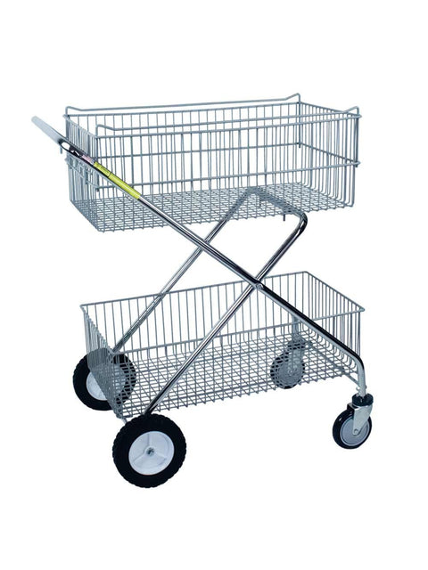 R & B Wire 500 Deluxe Tubular Steel Utility Cart - 2 Baskets Chrome-Norton Supply