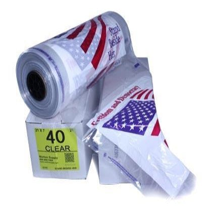 "40"" Printed Poly Garment Bag - American Flag, 21lb-Norton Supply"