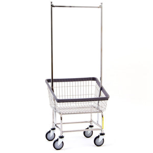 R&B Wire 100T58 Front Loading Wire Frame Metal Laundry Cart with Double Pole Rack - Chrome-Norton Supply