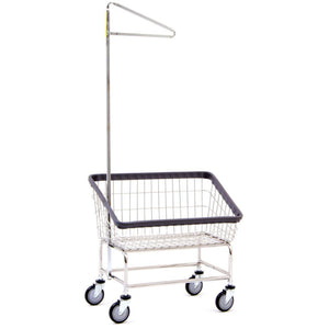 Large Capacity Front Load Laundry Cart w/ Single Pole Rack-Norton Supply