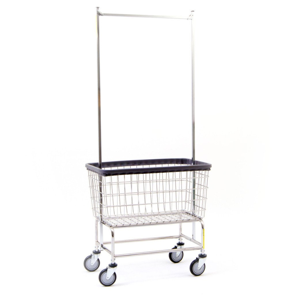 Large Capacity Laundry Cart w/ Double Pole Rack-Norton Supply