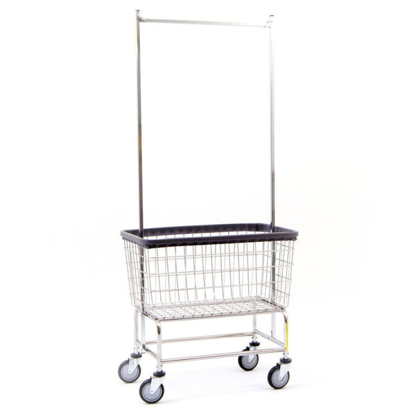 R&B Wire 200F56 Large Wire Laundry Cart with Double Pole Rack, 4.5 Bushel, Chrome-Norton Supply