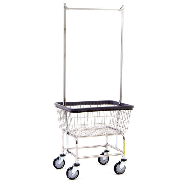 R&B Wire 100D58 Narrow Wire Frame Metal Laundry Cart with Double Pole Rack-Norton Supply