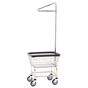 R&B Wire 100D91 Narrow Wire Frame Metal Laundry Cart with Single Pole Rack - Chrome-Norton Supply