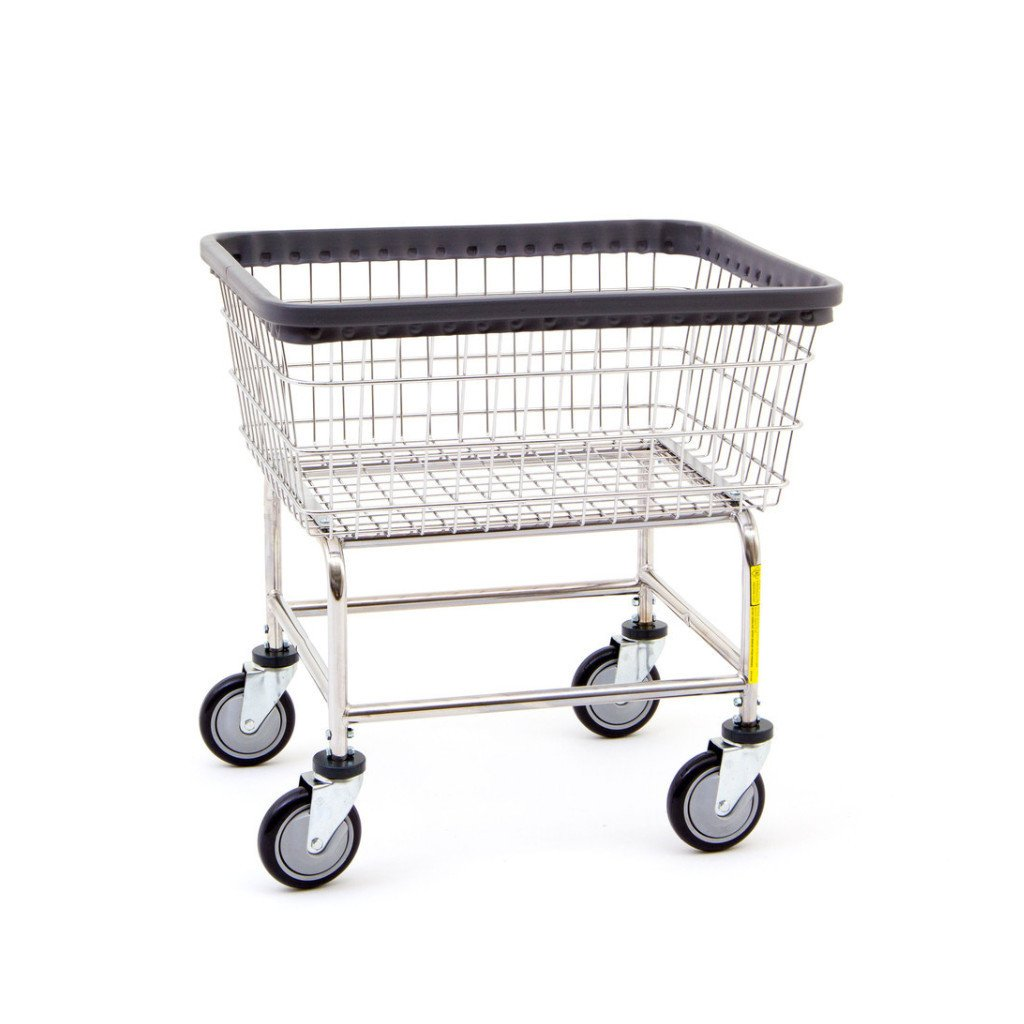 R&B Wire 100E Standard Wire Frame Metal Laundry Cart - Chrome-Norton Supply