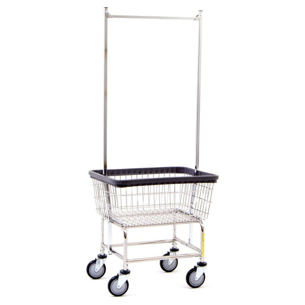 R&B Wire 100E58 Wire Laundry Cart with Double Pole Rack, 2.5 Bushel, Chrome-Norton Supply