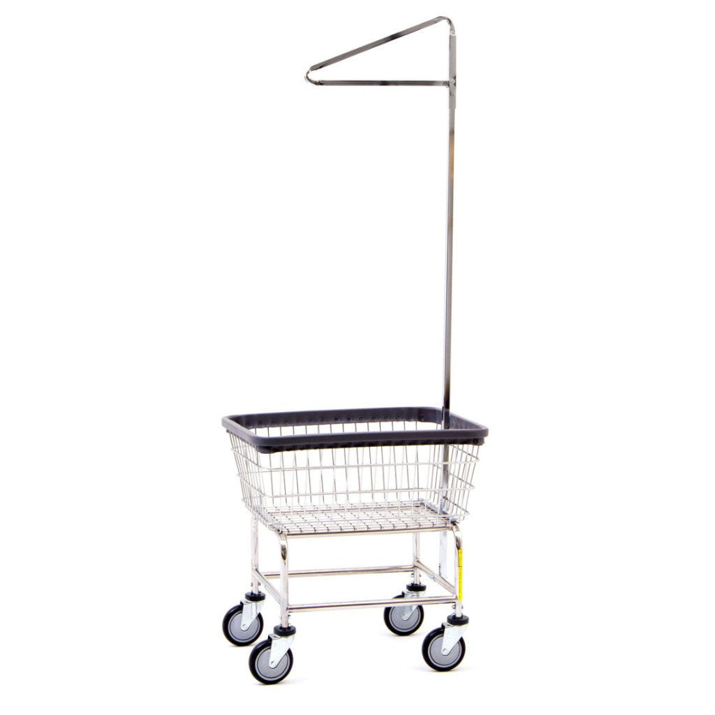 100E91 R&B Wire Standard Laundry Cart w/ Single Pole Rack-Norton Supply