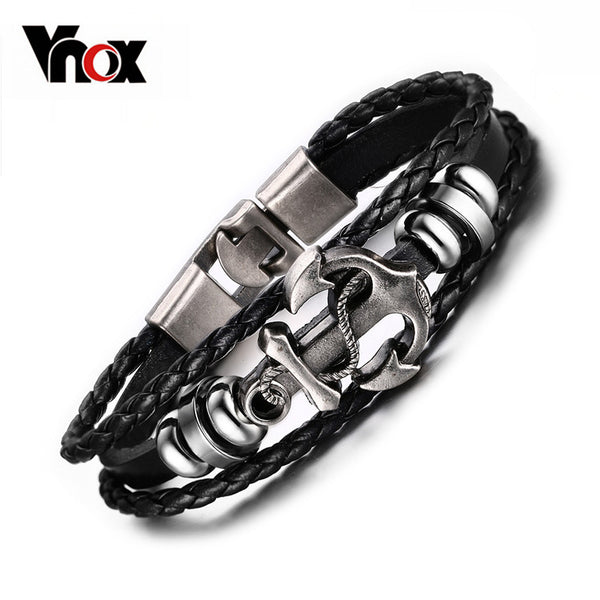 Men's Vintage Anchor Black Leather Bracelet
