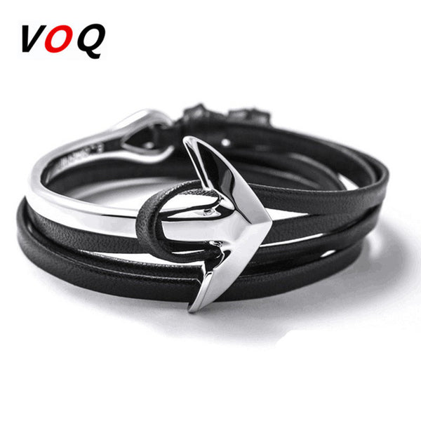 Men's Fashion Anchor Leather Bracelet