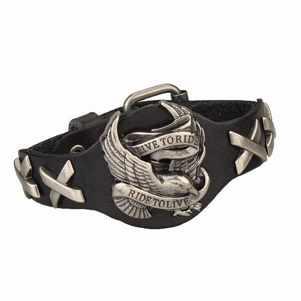 Men's Biker Genuine Leather Bracelet