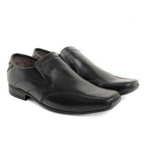 Base London black leather loafers