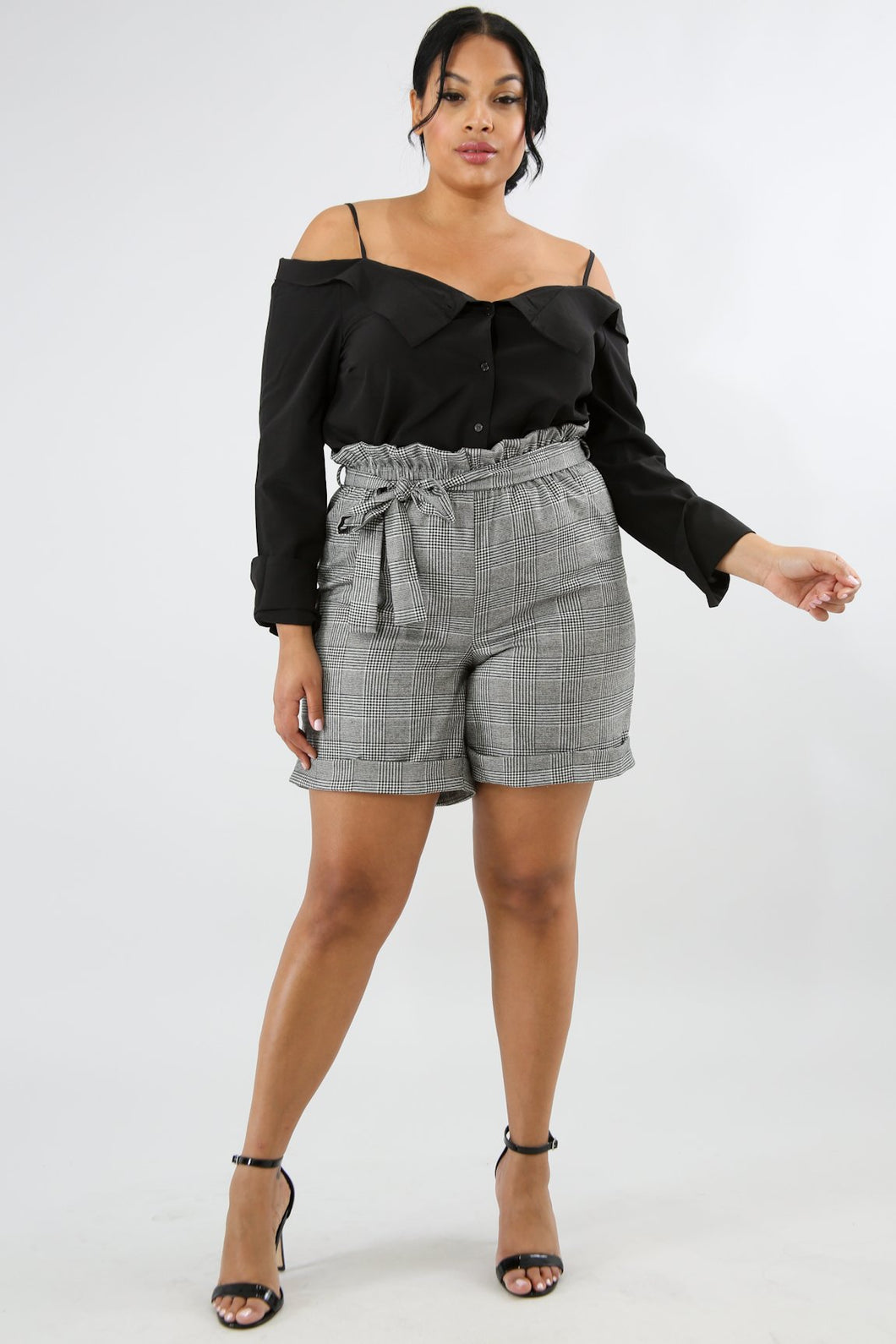High Waist Plaid Boxer Shorts - Haute Sista