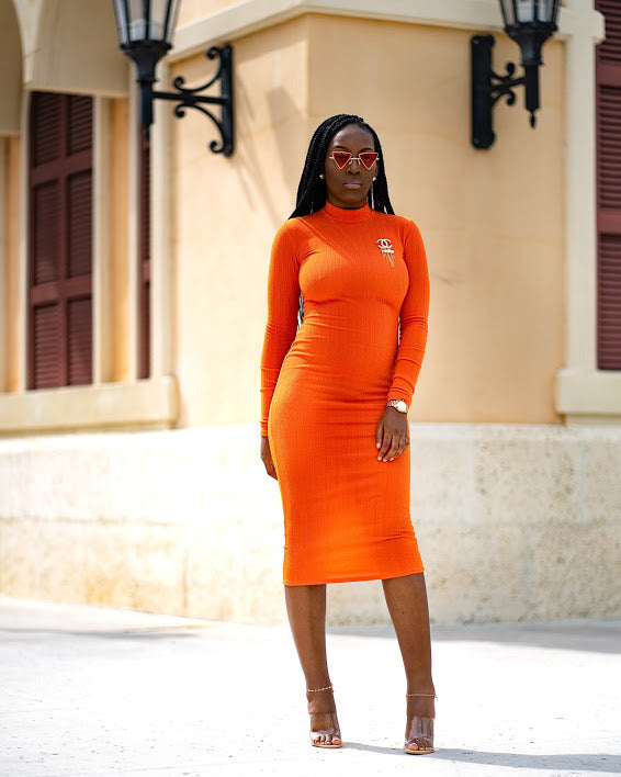 Knitted Midi Bodycon Dress(Orange) - Haute Sista