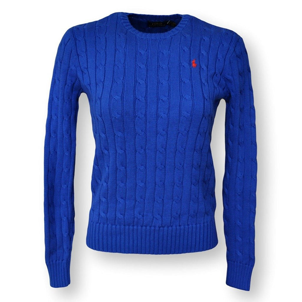 Polo Ralph Lauren Womens Crew Neck Cable Knit Sweater S Sapphire