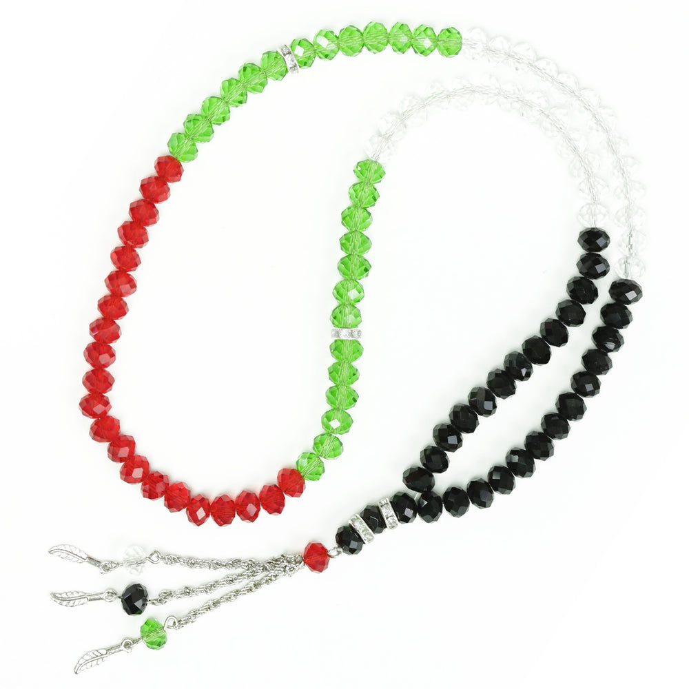 99 BEAD CRYSTAL PALESTINE FLAG COLOUR TASBEEH / PRAYER BEADS
