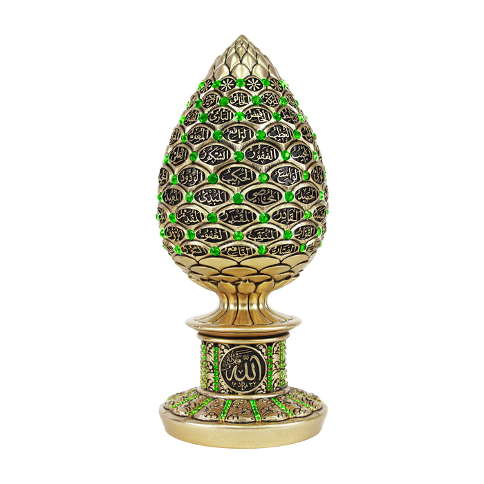 99 Names of Allah Golden Green Crystal Egg Ornament - Islamic Calligraphy Art