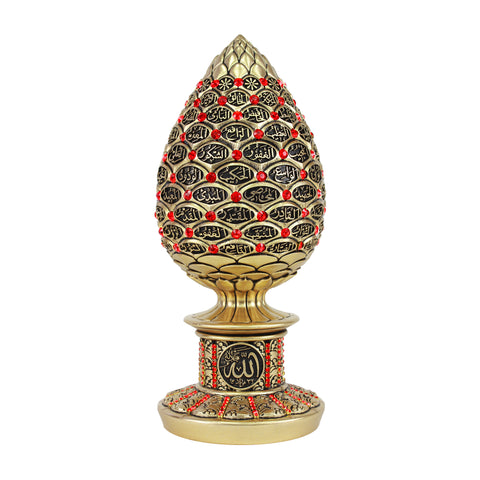 99 Names of Allah Golden Red Crystal Egg Ornament - Islamic Calligraphy Art
