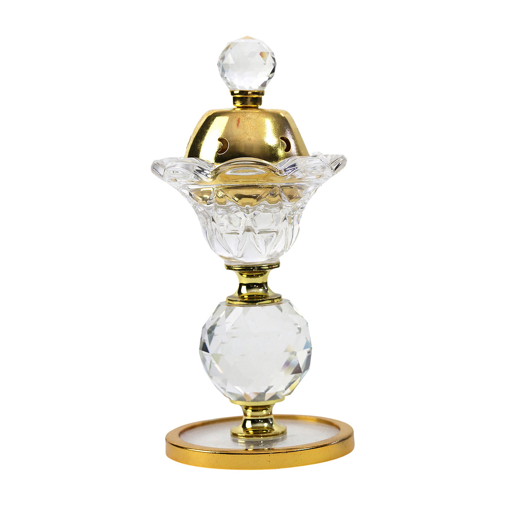 Luxury Crystal Glass Gold Ornament Incense Bukhoor Burner (BF1239C)
