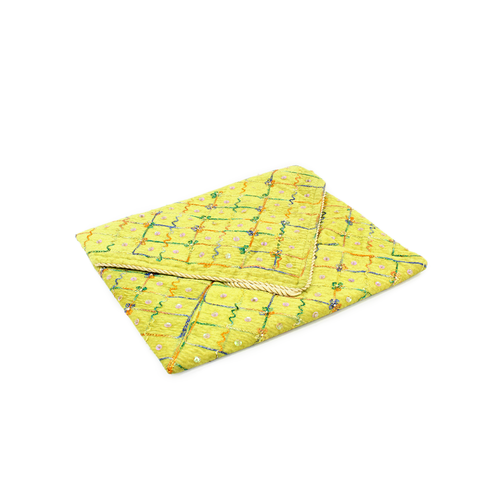 YELLOW PADDED DIAMANTE QURAN COVER