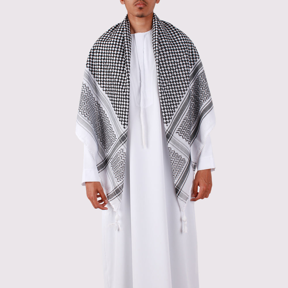 Black and White Shemagh Palestinian Keffiyeh Scarf