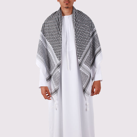 High Quality Black and White Shemagh Palestinian Keffiyeh Scarf