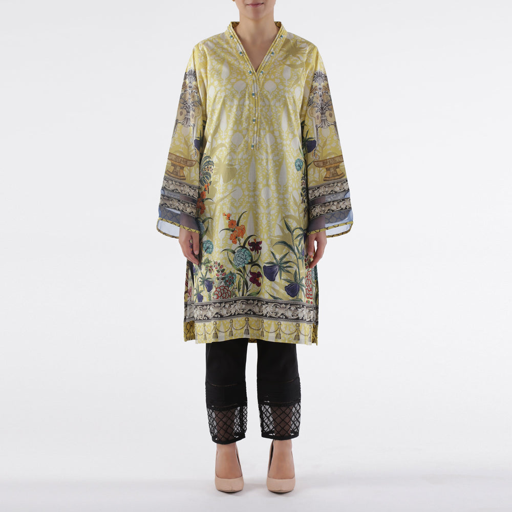 Oaks Lemon Green Printed Kurti