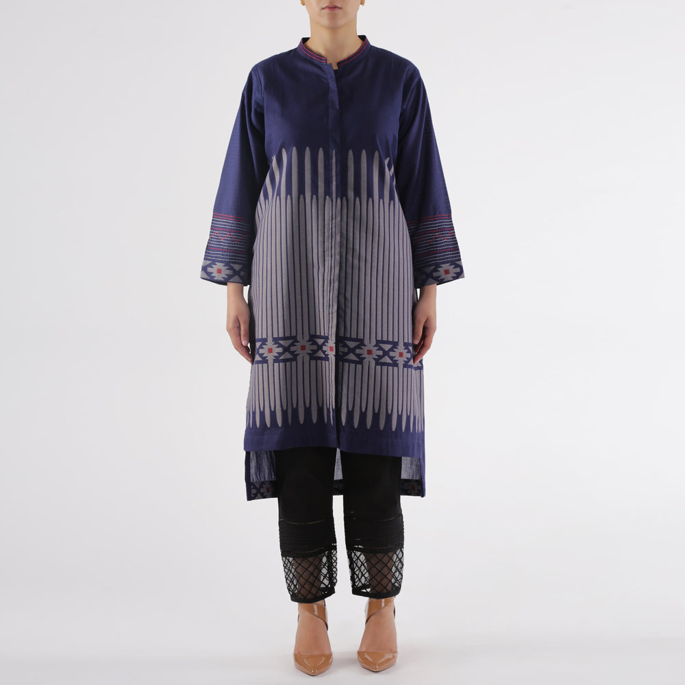 Oaks Navy Yarn-Dyed Jacquard Embroidered Kurti