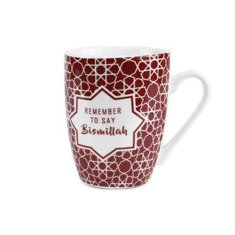 Bismillah Red Arabesque Islamic Mug