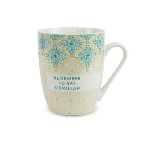 Bismillah Teal Flourish Islamic Mug