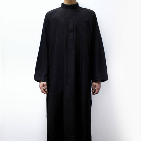 COLLAR THOBE QATARI ARAB SAUDI JUBBA FOR BOYS BLACK
