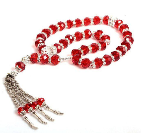33 BEAD CRYSTAL TASBEEH / PRAYER BEADS RED