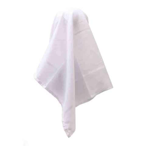 PLAIN WHITE SCARF WITH SILVER TRIM