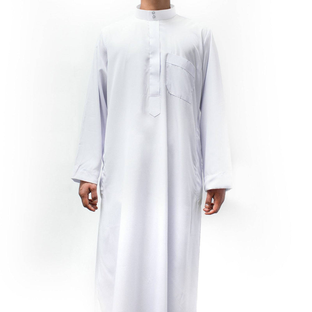 COLLAR THOBE QATARI ARAB SAUDI JUBBA FOR BOYS WHITE