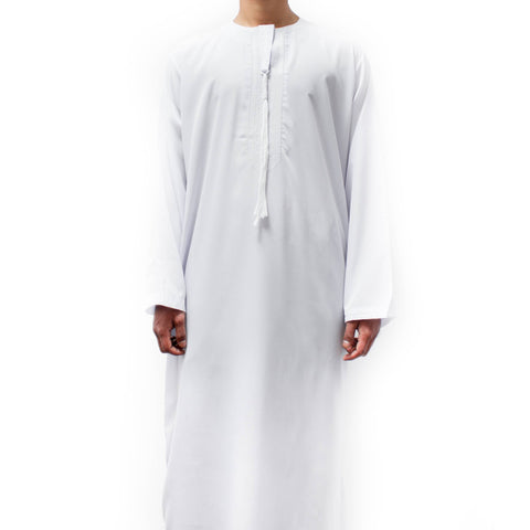 OMANI TASSEL THOBE SAUDI JUBBA FOR BOYS WHITE