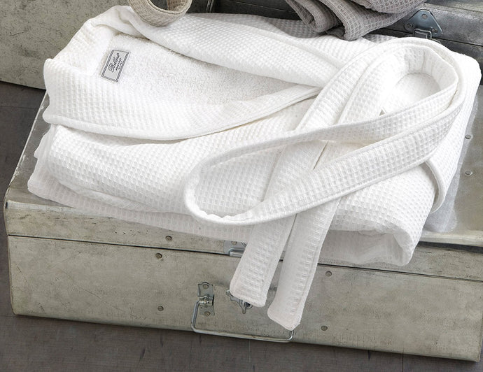 Bellora Terry Cotton and Waffle Weave Spa Robe - Unisex (White)