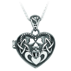 Sterling Silver Claddagh Knot Heart Locket Pendant
