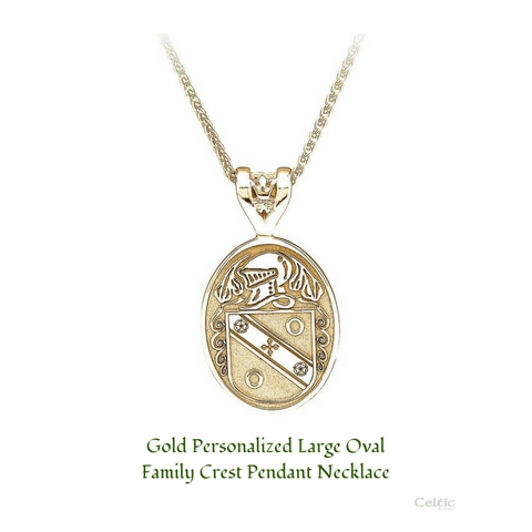 Gold Personalized Large Oval Family Crest Pendant Necklace