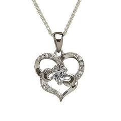 Sterling Silver Heart and CZ Pendant