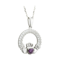 February Birthstone w/ Crystals Claddagh Sterling Silver Pendant